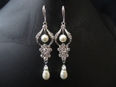 Sparkle filled bridal, wedding, fasion, cubic zirconia, earrings, chandeliar earrings, dangly earrings, swarovski pearl on Etsy, $68.00