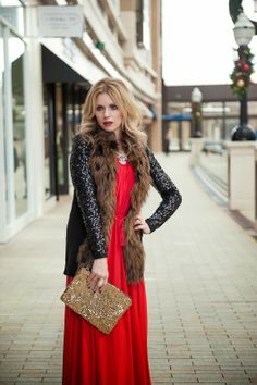 Gold Metal Luxe necklace, fur & RED.