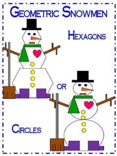 Winter Geometric Snowman Snowman and Winter