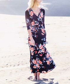 Look what I found on #zulily! Navy & Red Floral V-Neck Maxi Dress #zulilyfinds