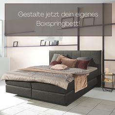 Kaufe jetzt dein individuell konfiguriertes Boxspringbett im wohnfitz Shop! Jetzt online konfigurieren und bestellen! Modern, Bed, Furniture, Home Decor, Fabric Patterns, Bed Frame, Pool Chairs, Reach In Closet, Homes