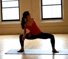 Try the Twisting Goddess to increase flexibility in your shoulders as well as to tone your quads, glutes, and core. Photo: Jenny Sugar at Yoga Vermont