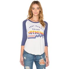 Junk Food Very Busy Doing Nothing Tee Tops ($41) ❤ liked on Polyvore featuring tops, t-shirts, graphic tees, cotton t shirt, print tees, curved hem t shirt, print t shirts and white tee