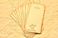 Baby Shower Wish Tags - Set of 10 - Baby Elephant - Green Crown - Vintage Baby Shower - Wish Tree - Wishes For Baby - Personalized