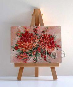 Peach Chrysanthemums original miniature painting all