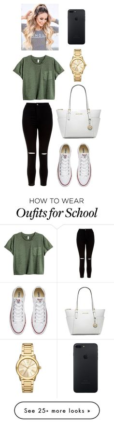 """School Outfit"" by jessica-cistrelli on Polyvore featuring New Look, Converse and Michael Kors"