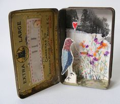 Assemblage :: mixed media tin, 'Home Sweet Home' by Hens Teeth