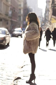 Hot moms wear fur coats. With high heels.