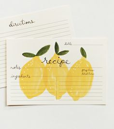 'Lemon Recipe Cards' from Rifle Paper Co.