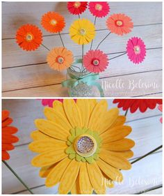 Gerbera daisies made with the NEW Daisy Delight bundle! Available from Stampin' Up! June 1st, 2017! www.nicollebelesimo.stampinup.net