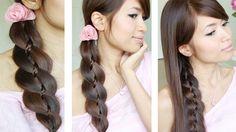 Unique 4 Strand Braid (Braid in Braid) Hairstyles for Medium Long Hair Tutorial, via YouTube.