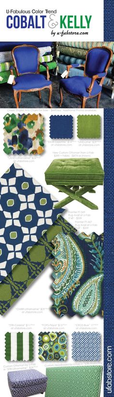 Loving room:One of the latest and greatest color trends for Spring 2014 is a vibrant combination of Kelly Green and Cobalt blue. These two colors work together in harmony to create a crisp look that is neither masculine nor feminine.