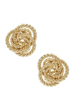 Gold rope knot stud earrings