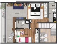 Pinterest: @claudiagabg | Apartamento 2 pisos 2 cuartos terraza / planta 2
