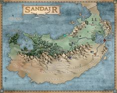 The official map of Sandair as designed by the wonderful Soraya Corcoran. A black and white version appears in the printed copy of Sand Dancer.