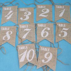 Burlap and Ivory Table Number Banner Set of 10 F264 - shabby chic wedding decoration