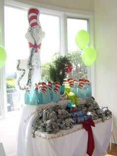 Dr. Seuss Baby Shower Ideas - Party Favor Table (Party Favor Bags w/Hat Cut Out)