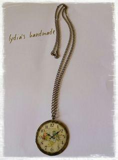 Κολιέ χειροποίητο ρολόι, με υγρό γυαλί !!!