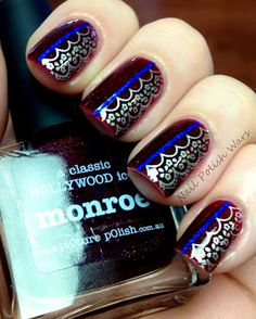 Monroe by Picture Polish, lace stamp is Barry M Silver Foil with Shany stamping plate SH21, and blue striping tape. Stunning!