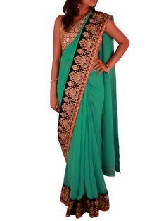 Turquoise Green Georgette saree with Black/Red border – Sweta Sutariya
