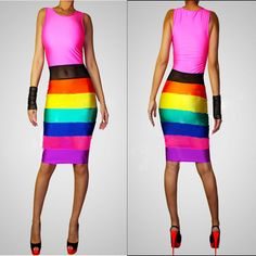 Rainbow Dresses for Women | summer women sexy bodycon bandage dresses colorful rainbow beach dress ...
