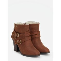 Justfab Booties Yarah ($40) ❤ liked on Polyvore featuring shoes, boots, ankle booties, brown, platform booties, brown bootie, faux suede booties, platform boots and platform ankle boots