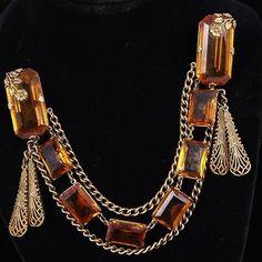 Art-Deco-Brass-dress-clips-with-Czech-amber-crystal-filigree-drop-bead-Lot-69