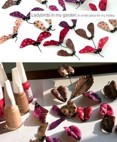 Есенни буболечки за деца от листа, шушулки, стари лакове за нокти и много, много ВЪОБРАЖЕНИЕ:)