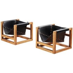 Very Rare Heinz Witthoeft Pair of Black Leather Lounge Chairs | From a unique collection of antique and modern armchairs at https://www.1stdibs.com/furniture/seating/armchairs/