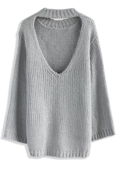 Glamour On Back Sweater in Grey - New Arrivals - Retro, Indie and Unique Fashion