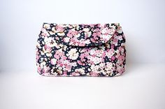 cherry blossom clutch purse - charcoal