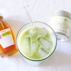 Iced matcha latte with almond milk and raw honey! For a hint of sweet done the healthy way  #MizubaTeaCo #Matcha #HealthyandHappy