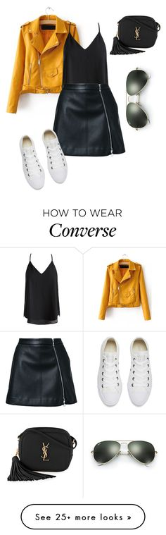 """Untitled #288"" by creece-massoudi on Polyvore featuring Sans Souci, Guild Prime, Converse, Yves Saint Laurent and Ray-Ban"