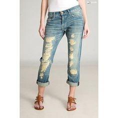Current Elliott The Boyfriend Tattered Destroyed Crop Jeans