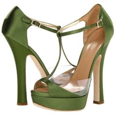 DSQUARED2 Louise Open Toe (£300) ❤ liked on Polyvore featuring shoes, pumps, heels, green shoes, sandals, raso verde, leather pumps, green leather shoes, high heel platform shoes and platform heels pumps