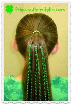 St. Patrick's Day Hairstyle, Ribbon Ponytail