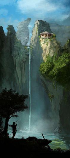 fluchtpunkt Konzeptkunst Wasserfall, # Konzeptkunst # Wasserfall My Teen Is A Runaway. Fantasy Concept Art, Fantasy Artwork, Dark Fantasy Art, Dark Art, Concept Art World, High Fantasy, Medieval Fantasy, Final Fantasy, Fantasy Places