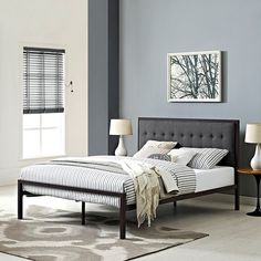 Millie Queen Fabric Bed in Brown Gray