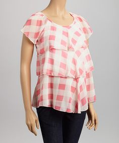Love this QT Pink Gingham Ruffle Maternity Angel-Sleeve Top on #zulily! #zulilyfinds