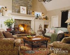 fireplace  i kind of like the white mantel with the stone.... might like stone???