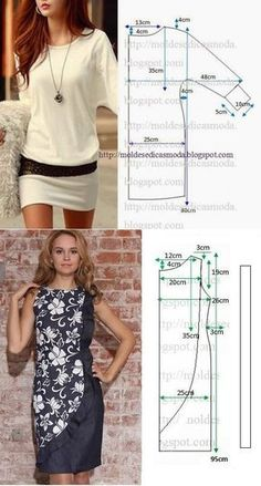 18 New Ideas For Sewing Simple Dresses Patrones - Schnittmuster Fashion Sewing, Diy Fashion, Ideias Fashion, Dress Sewing Patterns, Clothing Patterns, Pattern Dress, Skirt Patterns, Skirt Sewing, Fabric Sewing