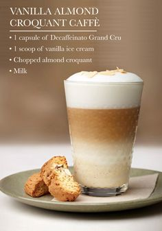 Indulge in a coffee treat like no other—this recipe for Vanilla Almond Croquant Caffè! Combined with ice cream, this Nespresso Grand Cru transforms into a creamy, sweet dessert drink your holiday dinner party guests are sure to enjoy. Vanilla Recipes, Tea Recipes, Coffee Recipes, My Coffee Shop, Coffee Latte, Hot Coffee, Dessert Drinks, Yummy Drinks, Coffee Course