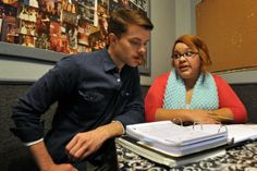 "Actor and singer Jonathan Barnes and his voice teacher, Gitana Mims, go over a script for his role as Bill Calhoun in Backdoor Theatre's upcoming production of ""Kiss Me, Kate."""