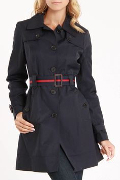Tommy Hilfiger Tori Trench Coat In Midnight..LOVE my trench coats! ;)