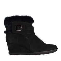 "@geoxcanada fur lined ankle booties feature a 2"" heel that will give you height and warmth for the winter"