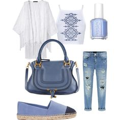 All Blue everything by camilla-tartaglia on Polyvore featuring polyvore, mode, style, Topshop, Tory Burch, Chloé and Essie