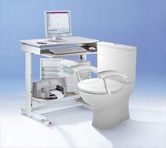 Geeky Computer Table with Toilet Seat Ideas Para Inventos, Funny Inventions, Awesome Inventions, Crazy Inventions, Gadgets, Home Camera, Mini Fridge, Small Refrigerator, Smart Technologies