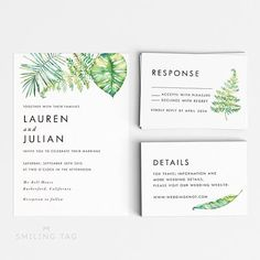 Printable Wedding Invitation Set  Watercolor Floral Spring