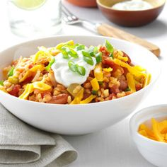 Mexican Beans and Rice Recipe from Taste of Home -- shared by Lorraine Caland of Thunder Bay, Ontario