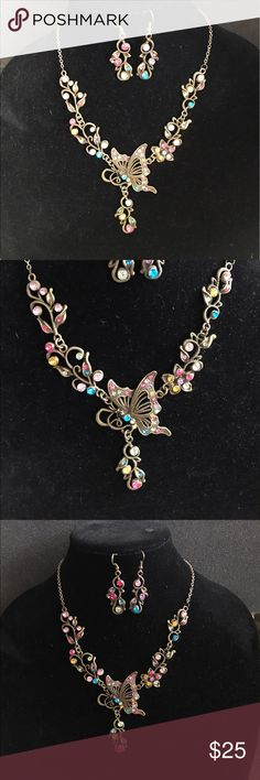 Butterfly necklace and earrings Multi color  butterfly necklace and earring set Jewelry Necklaces